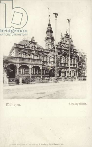 Postcard depicting the Schackgalerie (b/w photo)