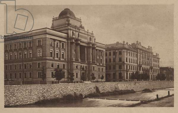 Palace of Justice and Central Post Office, Sarajevo (b/w photo)