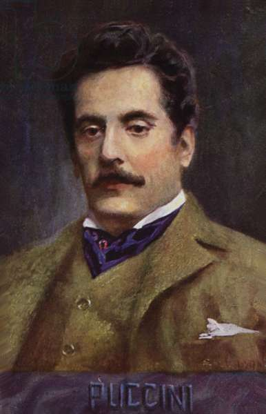 Portrait of Giacomo Puccini (colour litho)
