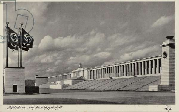 Grandstand at the Zeppelinfeld, Nazi Party Rally Grounds, Nuremberg (b/w photo)