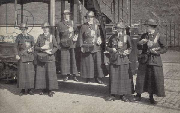 Women working as tram conductors, World War I (b/w photo)