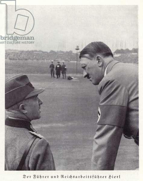Hitler with Konstantin Hierl, Nuremberg Rally, 1936 (b/w photo)