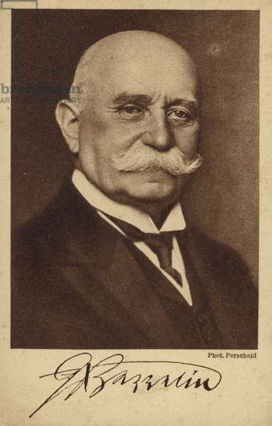 Ferdinand von Zeppelin (1838-1917), German airship manufacturer (b/w photo)