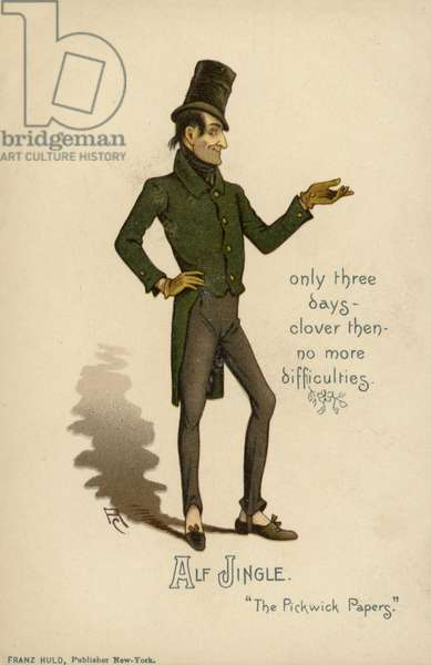Alf Jingle, from The Pickwick Papers, by Charles Dickens (colour litho)