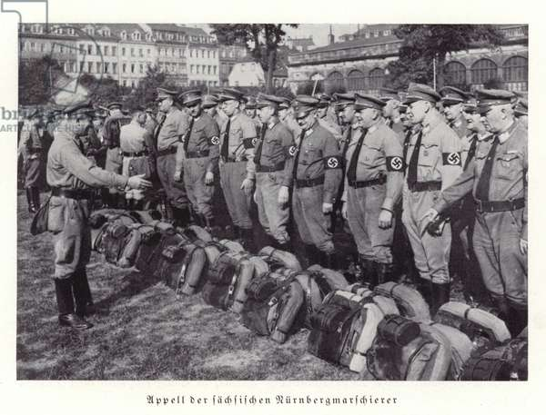 Roll call of Saxon delegates to the Nuremberg Rally, 1936 (b/w photo)