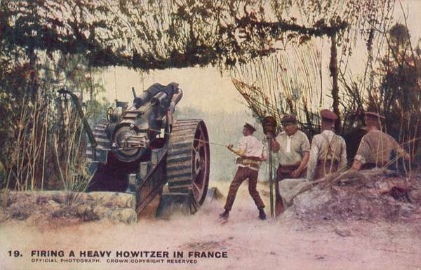 British artillery firing a heavy howitzer in France, World War I (coloured photo)