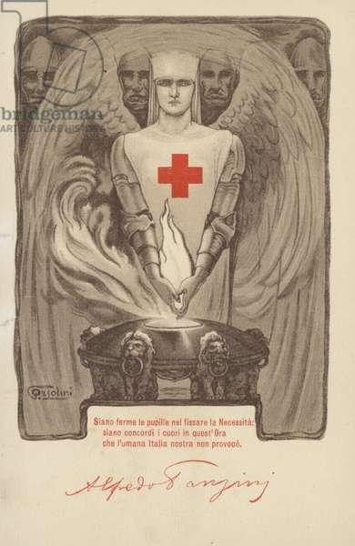 Italian Red Cross postcard, World War I, 1917 (colour litho)