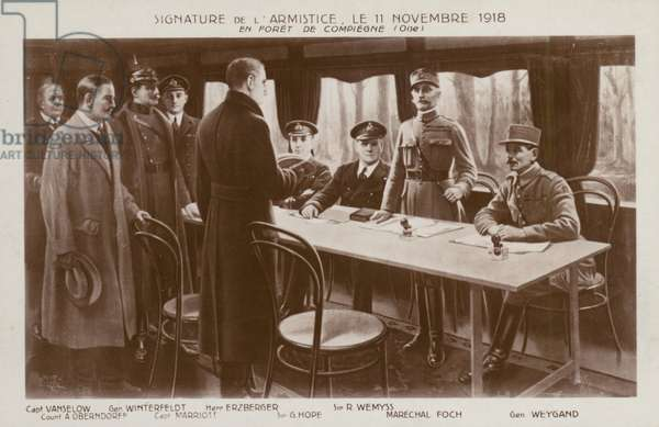 Signing of the Armistice to end the First World War, Forest of Compiegne, France, 11 November 1918 (litho)