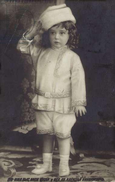 Alexei Nikolaevich Romanov, Tsarevich of Russia, 1900s. (b/w photo)