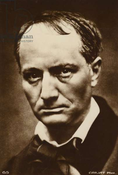 Charles Baudelaire (1821-1867), French poet (b/w photo)
