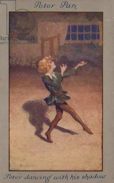 Peter dancing with his shadow (colour litho)