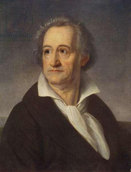 Johann Wolfgang von Goethe (1749-1832), German poet, novelist and playwright (colour litho)