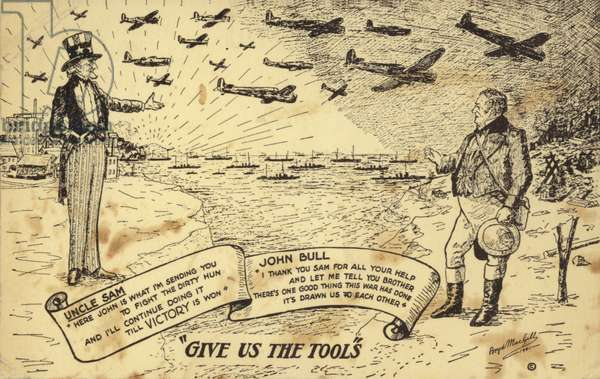 Uncle Sam sending John Bull ships and planes for the war (litho)