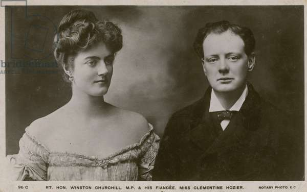 Winston Churchill MP and his fiancee Clementine Hozier (b/w photo)