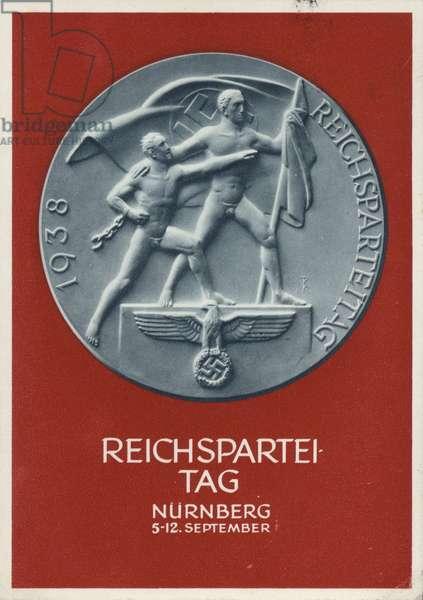 Nuremberg Rally Germany, 1938, Nazi propaganda postcard (colour litho)