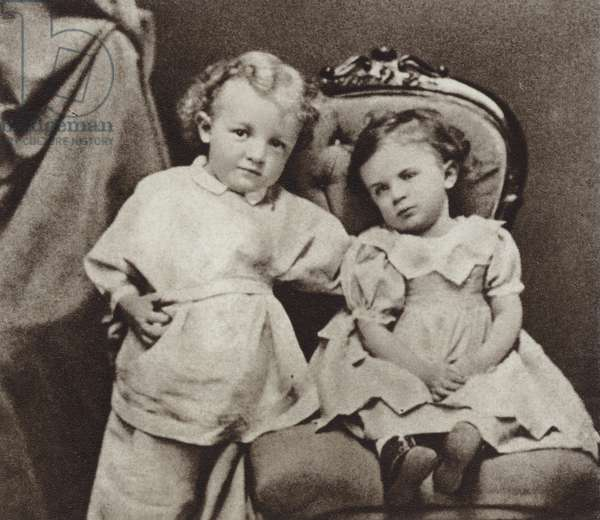 Lenin at the age of four and his sister Olga, Simbirsk, 1874 (b/w photo)