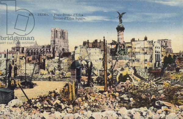 Ruins of Place Drouet d'Erlon, Reims, France, World War I (coloured photo)