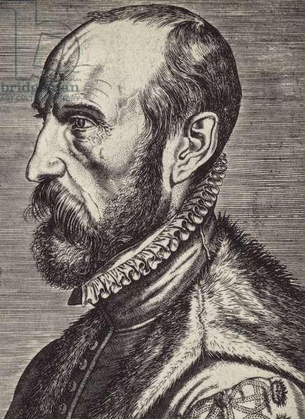 Abraham Ortelius (1527-1598), Flemish cartographer (litho)
