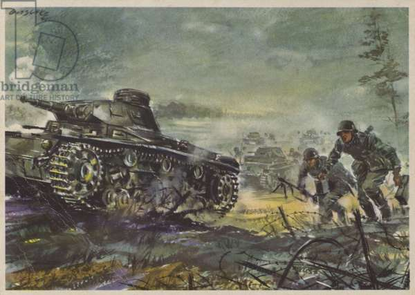 German infantry and tanks, World War II, 1940 (colour litho)