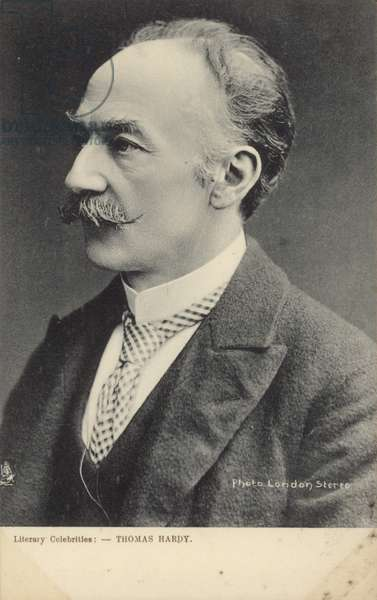 Thomas Hardy (1840-1928), English novelist and poet (b/w photo)