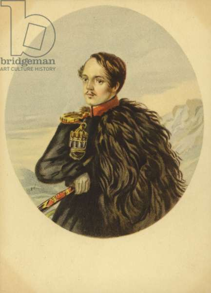 Mikhail Lermontov, Russian writer, poet and artist (colour litho)