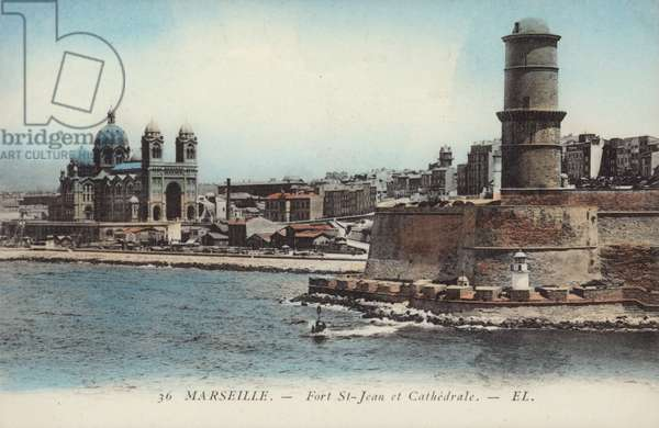 Postcard depicting Fort Saint-Jean and Marseilles Cathedral (photo)