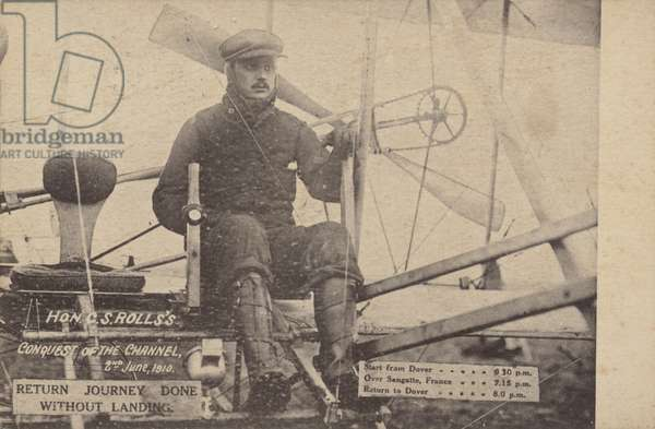 Charles S Rolls' return flight across the English Channel without landing, 2 June 1910 (b/w photo)