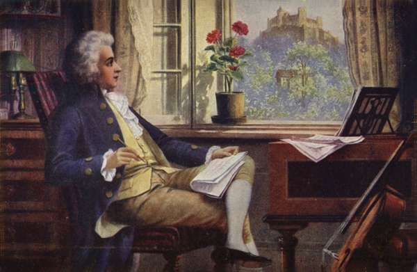 Portrait of Wolfgang Amadeus Mozart (colour litho)