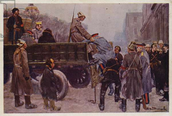 Arrest of Russian generals during the February Revolution of 1917, 1928 (colour litho)