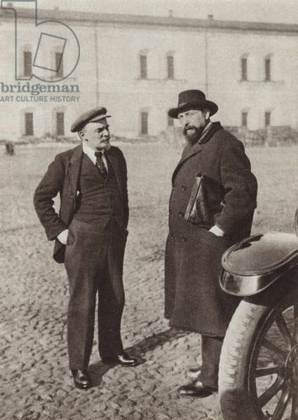 Lenin and V D Bonch-Bruyevich in the Kremlin, Moscow, October 1918 (b/w photo)