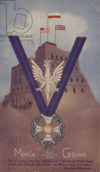 Monte Cassino, Italy, World War II, 1944 (colour litho)