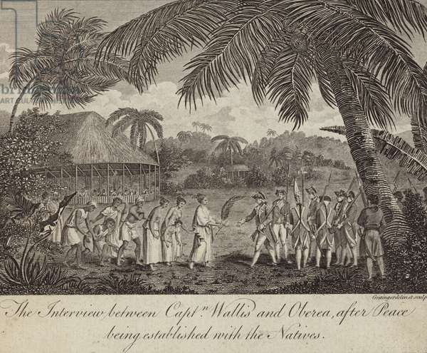 Tahitian Queen Oberea making peace with the British commanded by Captain Samuel Wallis, 1767 (engraving)