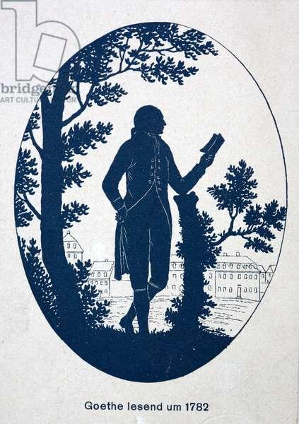 Johann Wolfgang von Goethe, German poet, novelist and playwright, reading, 1782 (litho)
