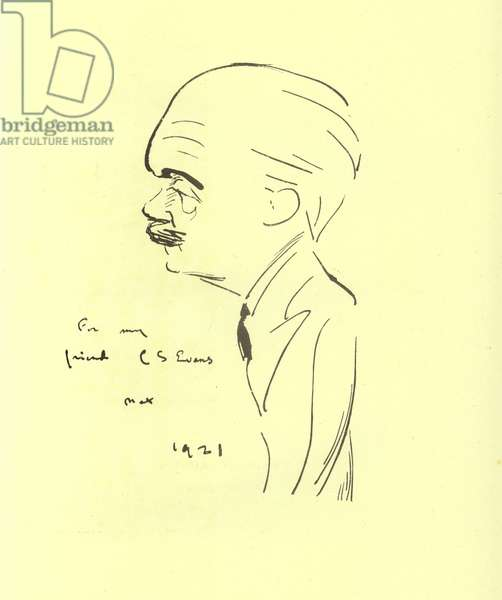 Max Beerbohm, English writer and caricaturist, 1921 (litho)