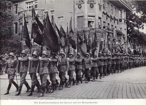 Banners of the German army and navy, 1936. (b/w photo)