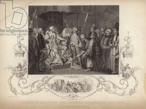 King George III receiving the Turkish ambassador and suit (engraving)