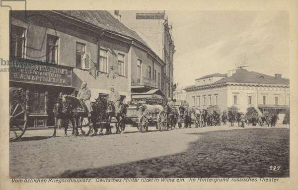 German army column on a street in Wilna (Vilnius), World War I, 1915-1918 (b/w photo)