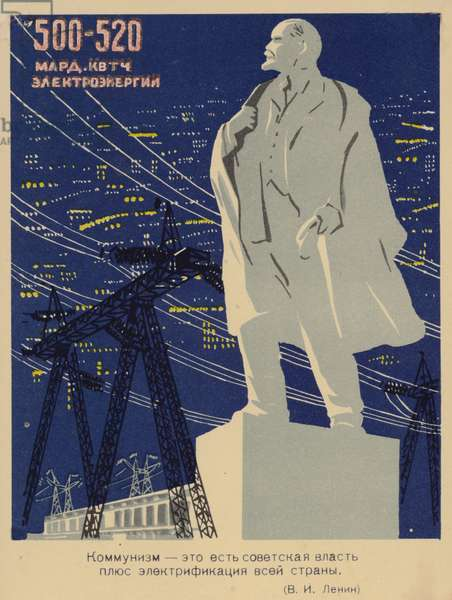 Image showing that electrification is vital to communism. (colour litho)