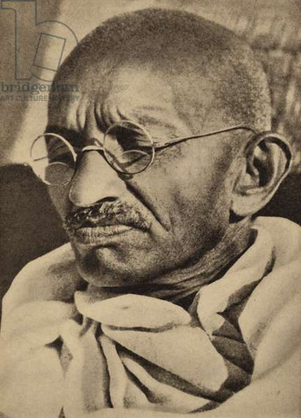 Mahatma Gandhi, Indian leader of the movement for independence from British rule, on hunger strike (b/w photo)