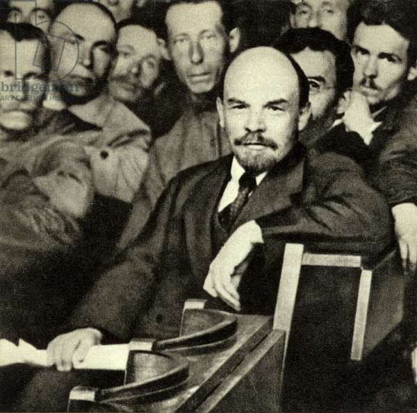 Lenin among the delegates to the 10th All-Russian Conference of the Russian Communist Party, Moscow, 26-28 May 1921 (b/w photo)