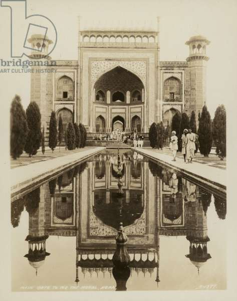 Main Gate to the Taj Mahal, Agra (b/w photo)