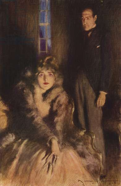 Scene from The Forsyte Saga, by John Galsworthy (colour litho)