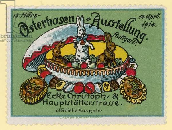 Easter Bunny exhibition, 1914 (colour litho)