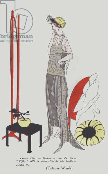 Women's fashion design from the 1920s by the House of Worth (colour litho)