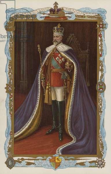 King Edward VII in coronation robes (colour litho)