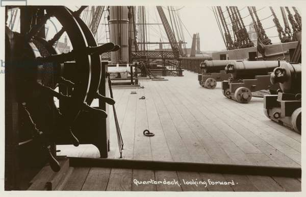 Quarterdeck of HMS Victory, looking forward (b/w photo)