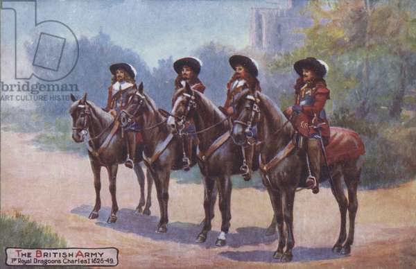 Four soldiers of the 3rd Hussars during the reign of King Charles I,1626-1649 (colour litho)