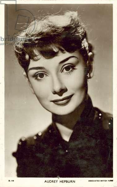 Audrey Hepburn, British actress (b/w photo)