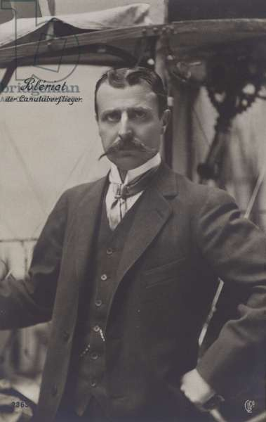 Louis Bleriot, French aviator (b/w photo)