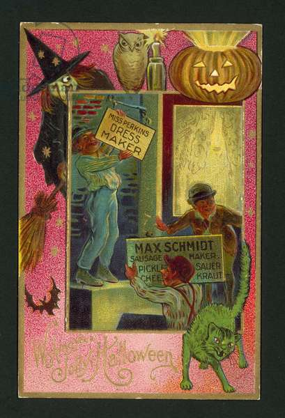 Halloween greetings card (chromolitho)